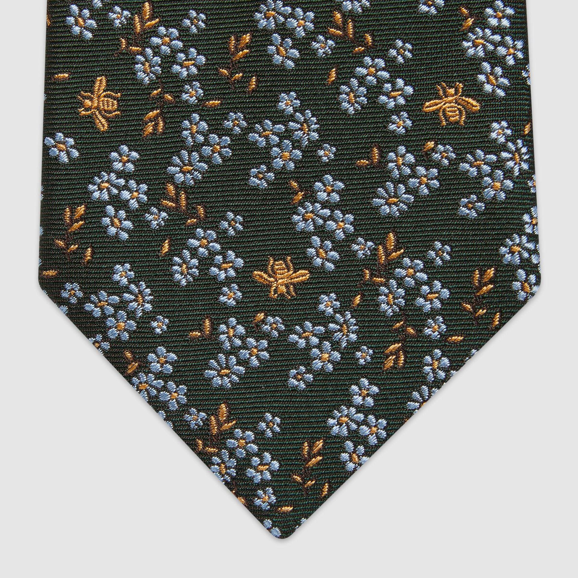유럽직배송 구찌 GUCCI Gucci Flowers and bees woven silk tie 6580324E0023269