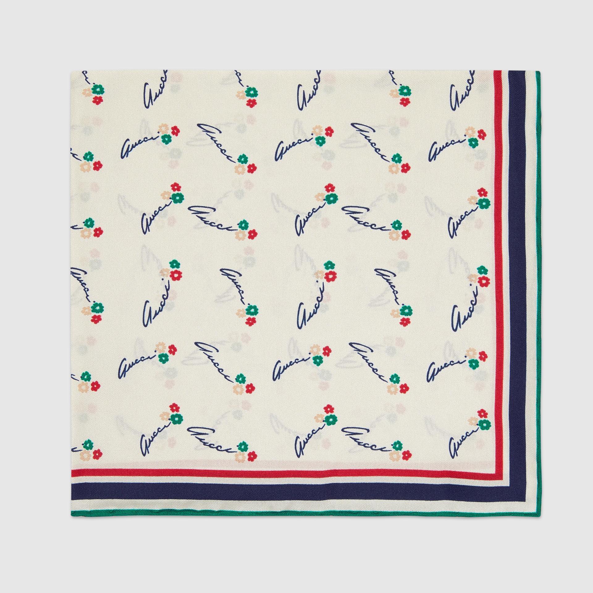 유럽직배송 구찌 GUCCI Gucci - Gucci flowers print silk pocket square 6604104G0019200