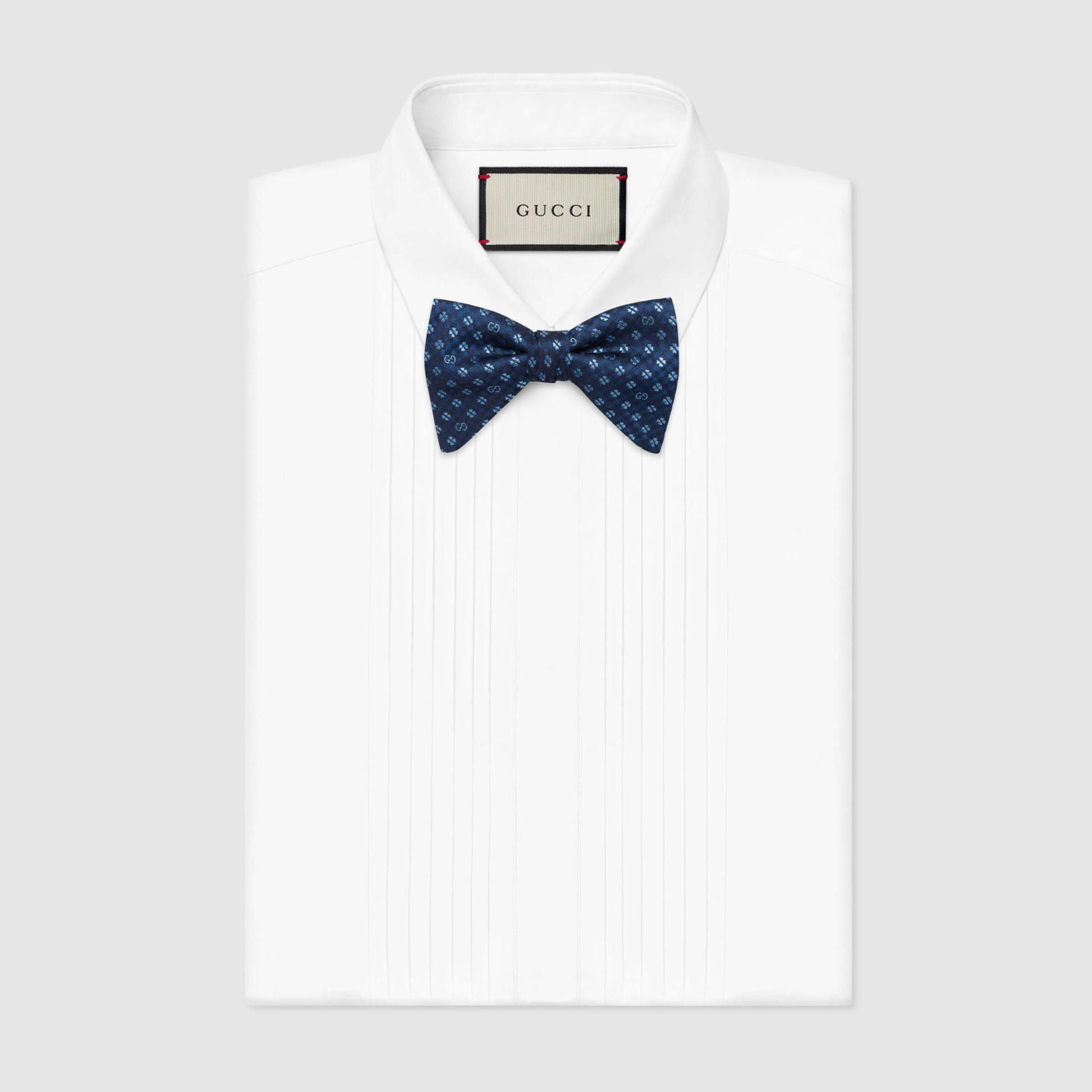 유럽직배송 구찌 GUCCI Gucci Interlocking G and clover silk bow tie 6624674G0094369