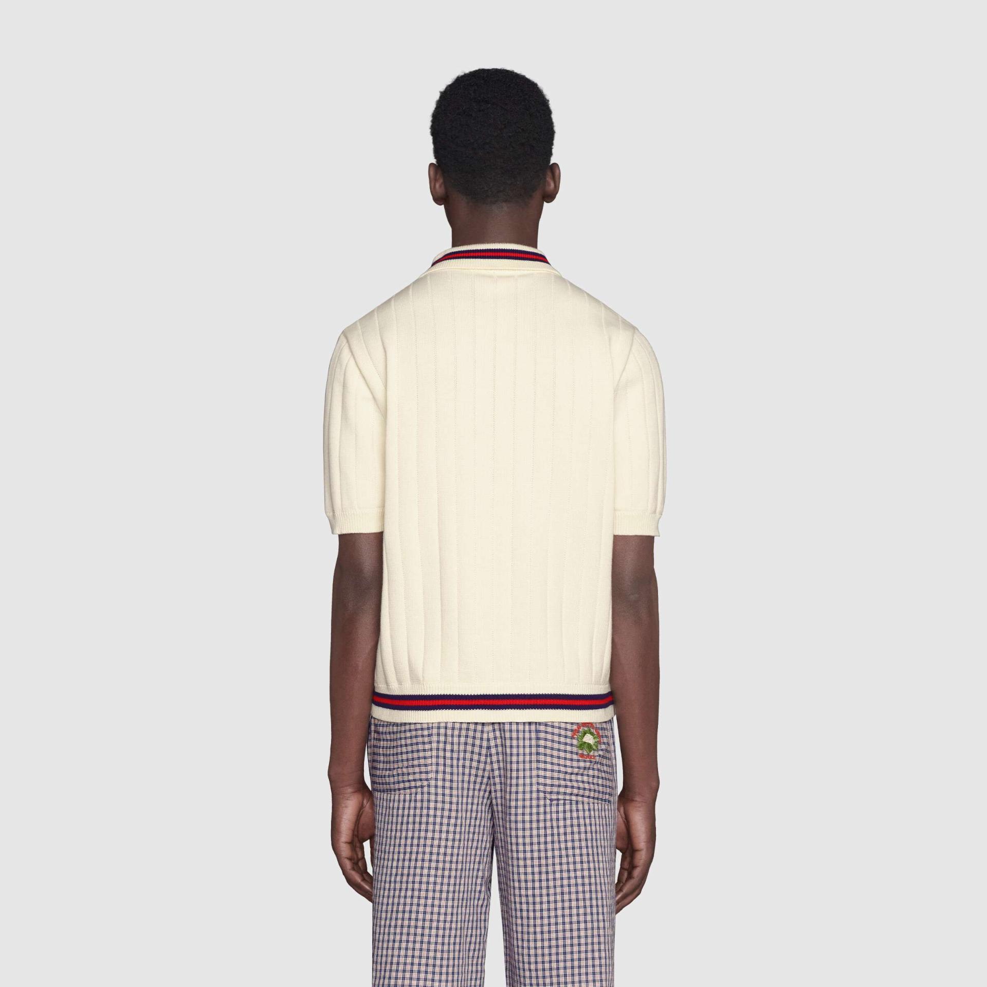 유럽직배송 구찌 GUCCI Gucci Cotton knit polo sweater with Web 653624XKBUR9182