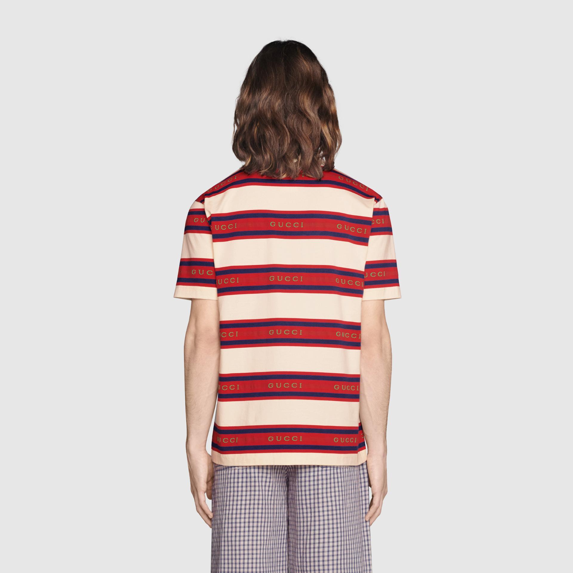 유럽직배송 구찌 GUCCI Gucci - Gucci jacquard striped cotton polo 645258XJC6I9209