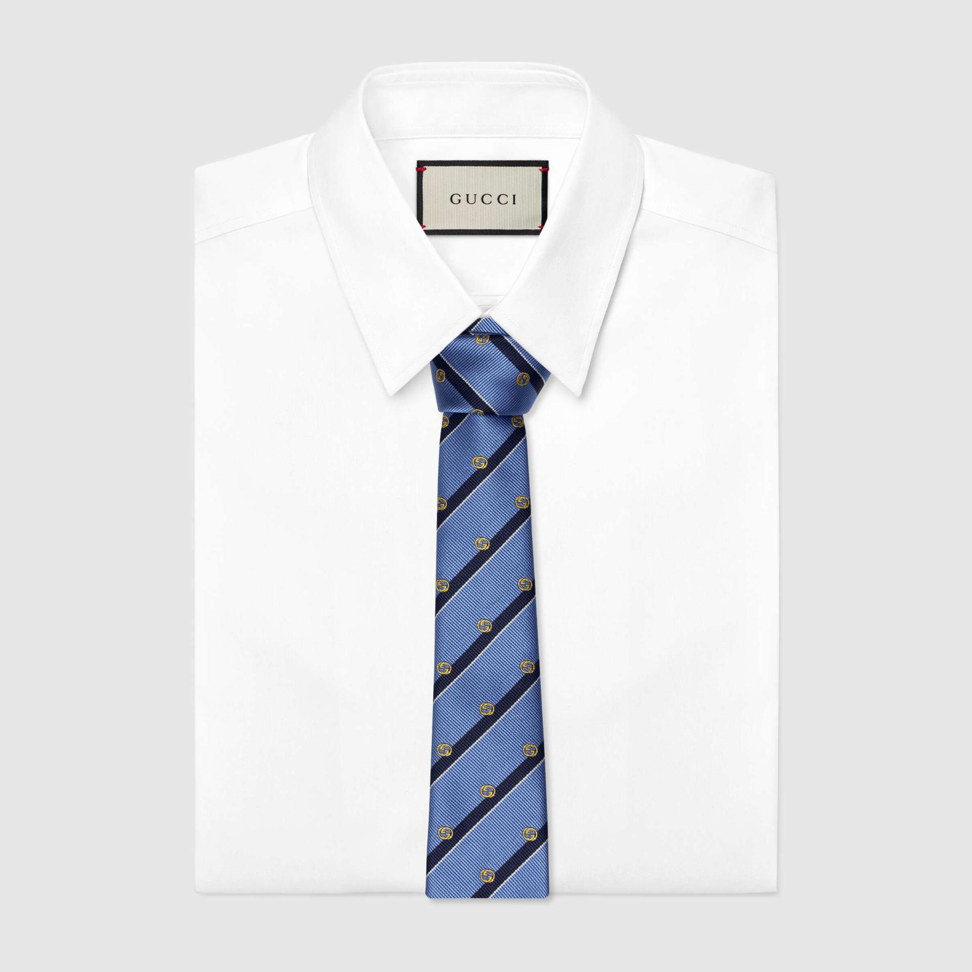 유럽직배송 구찌 GUCCI Gucci Striped silk tie with Interlocking G 6600584E0024568