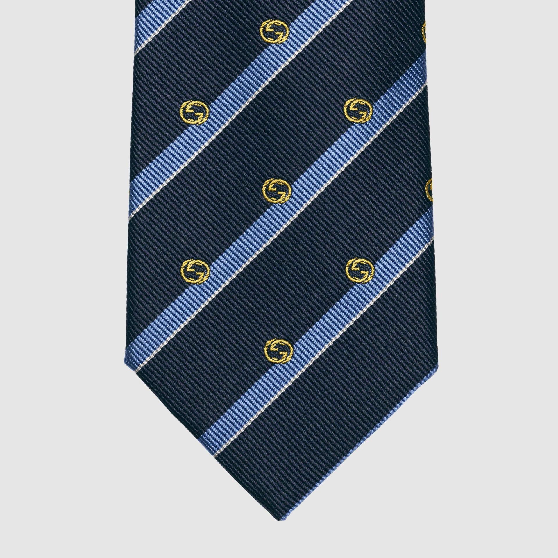 유럽직배송 구찌 GUCCI Gucci Striped silk tie with Interlocking G 6600584E0024169