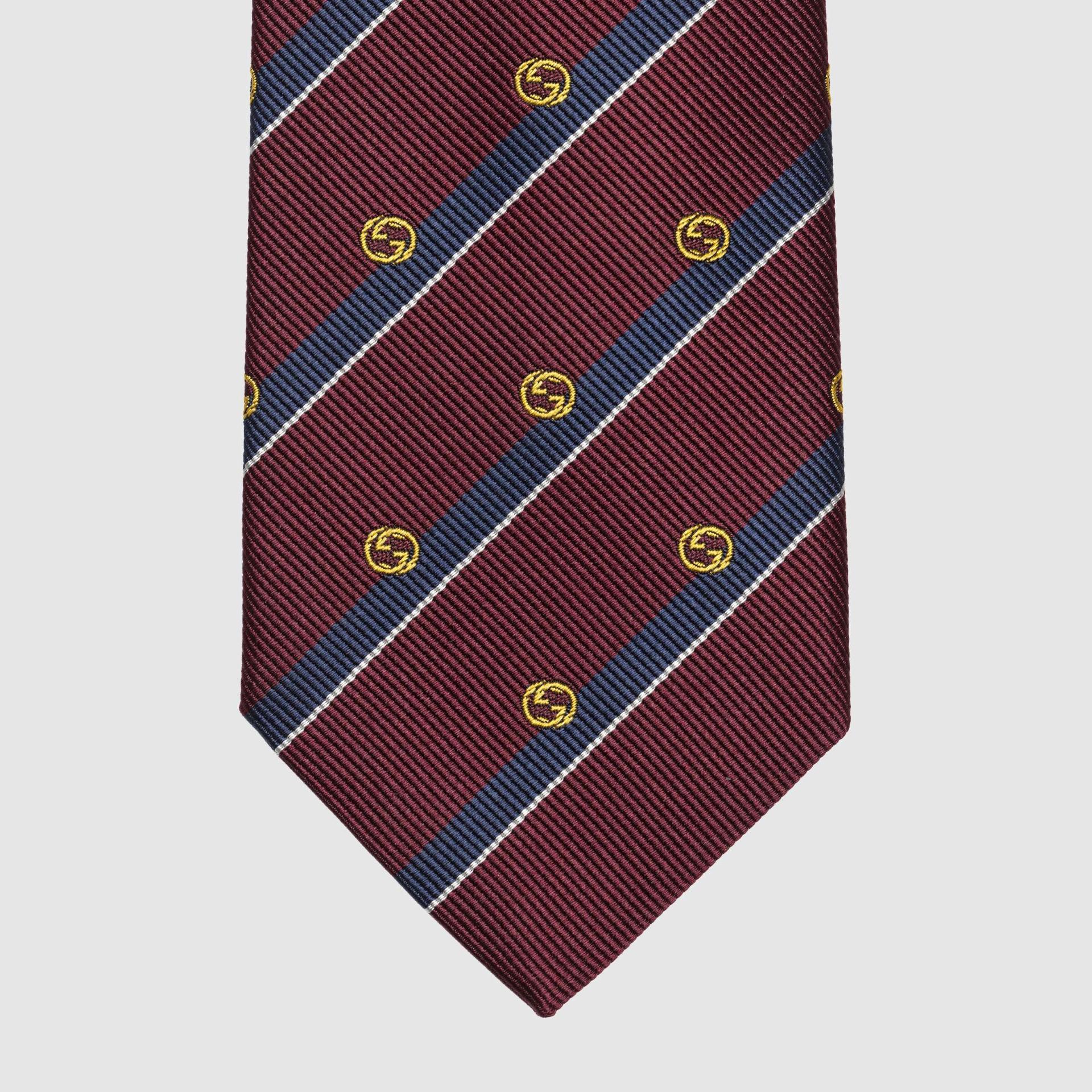 유럽직배송 구찌 GUCCI Gucci Striped silk tie with Interlocking G 6600584E0026268