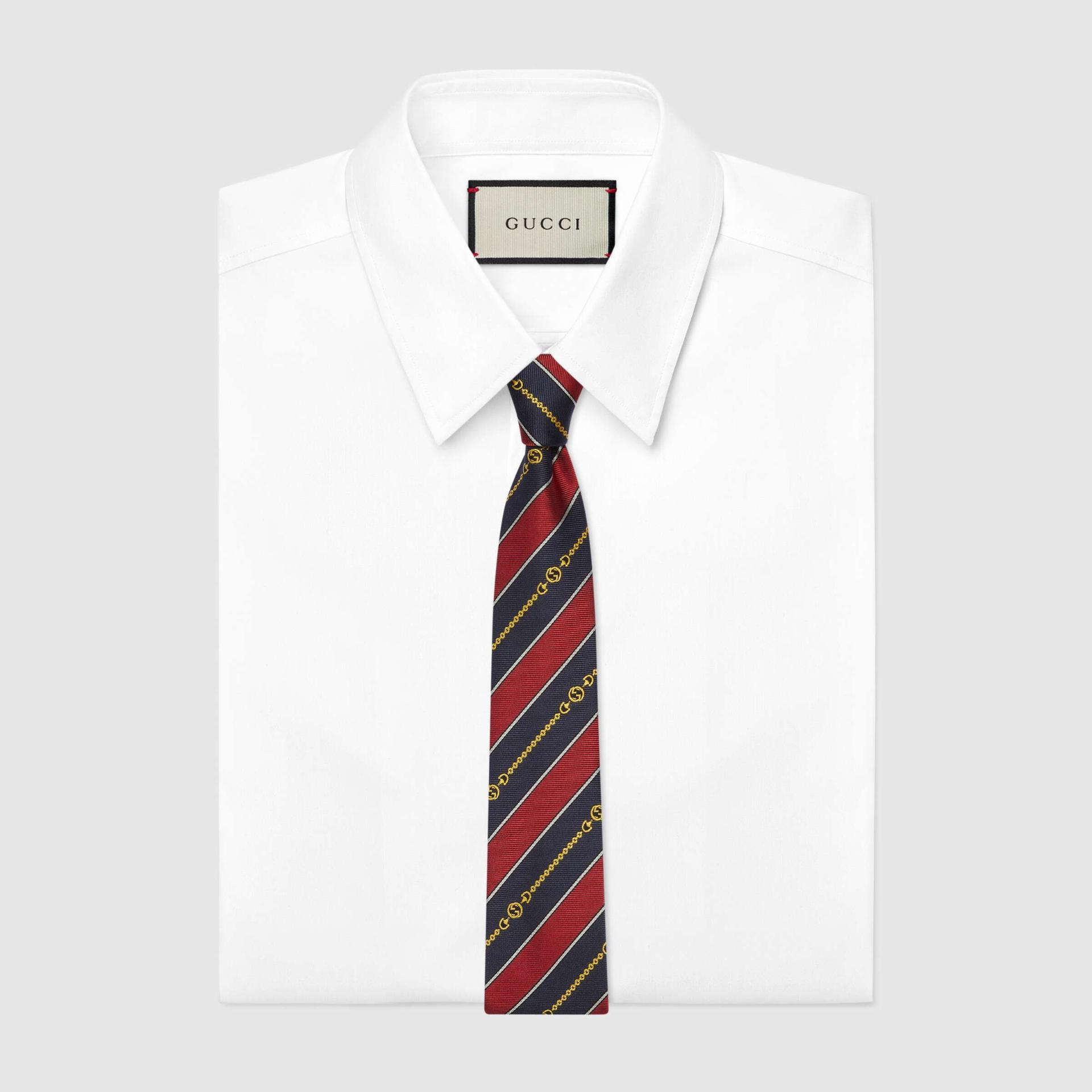 유럽직배송 구찌 GUCCI Gucci Interlocking G chain jacquard silk tie 6439294E0026368