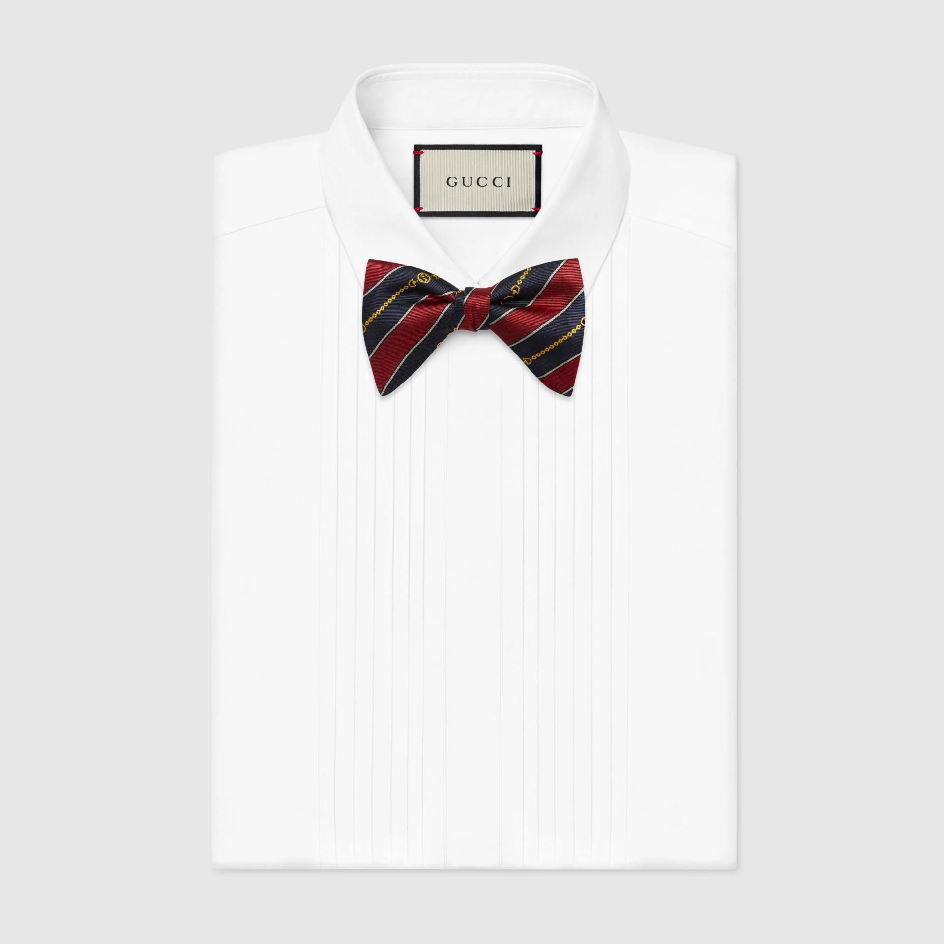 유럽직배송 구찌 GUCCI Gucci Striped silk bow tie 6624554G0096368