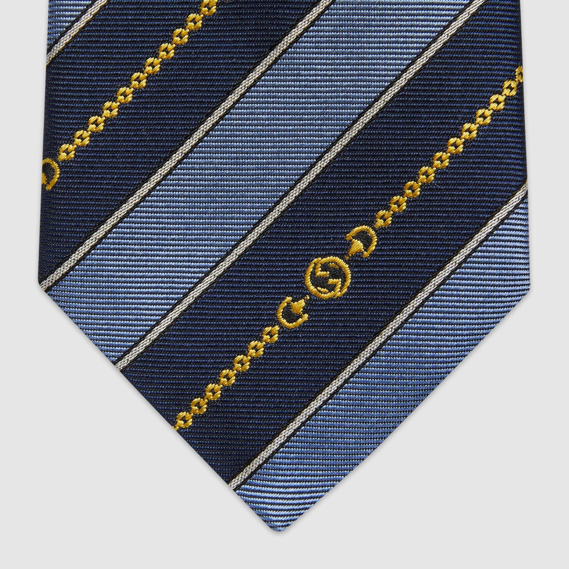 유럽직배송 구찌 GUCCI Gucci Interlocking G chain jacquard silk tie 6439294E0024868