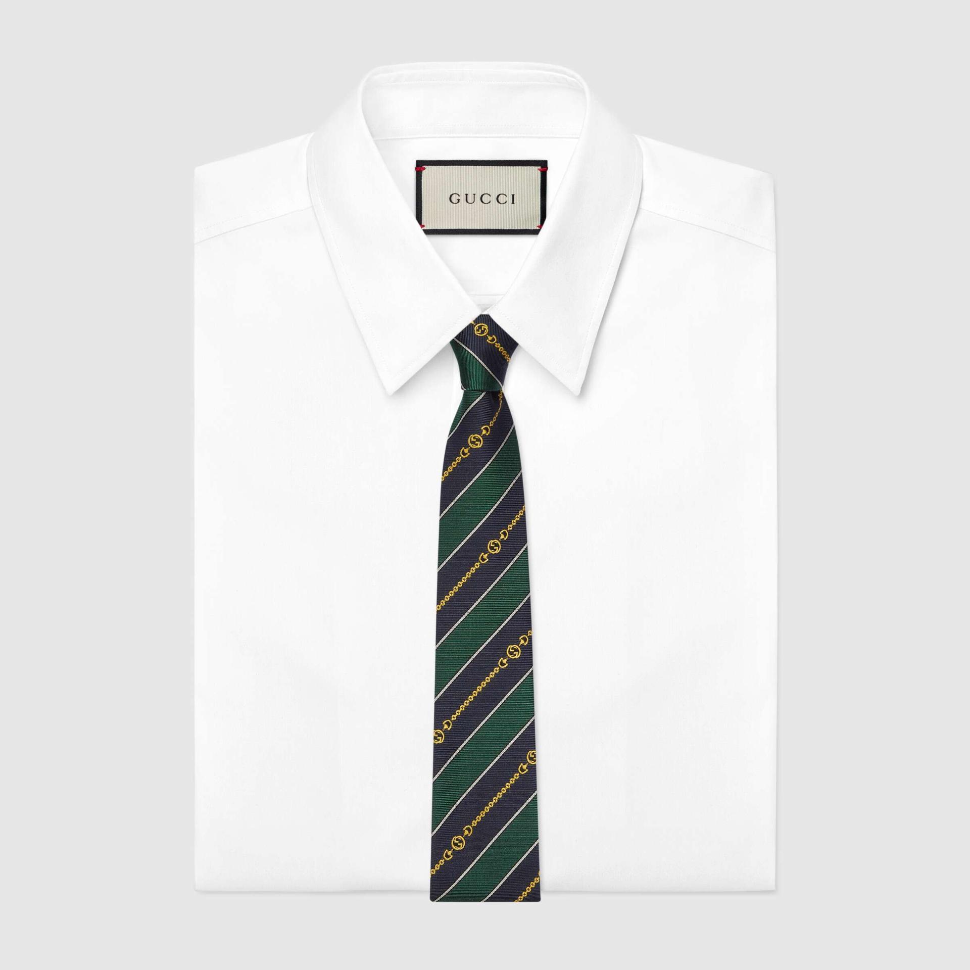 유럽직배송 구찌 GUCCI Gucci Interlocking G chain jacquard silk tie 6439294E0023368