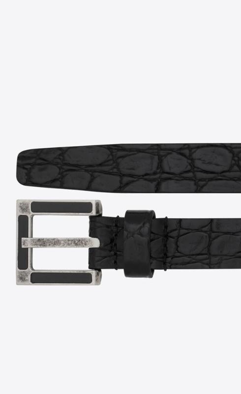 유럽직배송 입생로랑 SAINT LAURENT classic belt with square buckle in crocodile-embossed leather 6694811ZQ7D1000