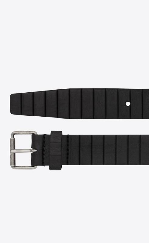 유럽직배송 입생로랑 SAINT LAURENT motorcycle belt with curved rectangular buckle in strip-embossed leather 6694850IHCD1000