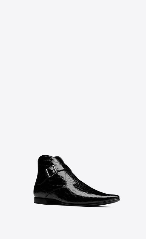 유럽직배송 입생로랑 SAINT LAURENT dixon buckled boots in crocodile-embossed patent leather 66760310N001000