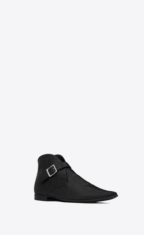 유럽직배송 입생로랑 SAINT LAURENT dixon buckled boots in crocodile-embossed leather 66760325S001000
