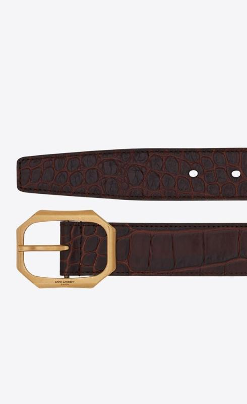 유럽직배송 입생로랑 SAINT LAURENT frame buckle belt in leather embossed with a large crocodile print 66988927U0W2161