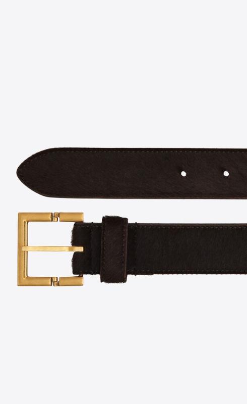 유럽직배송 입생로랑 SAINT LAURENT hinged buckle belt in pony effect leather 658508C7A0W2118