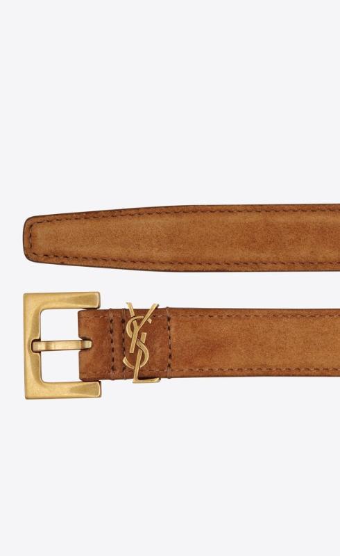 유럽직배송 입생로랑 SAINT LAURENT monogram narrow belt with square buckle in suede 554465C0X0W2516