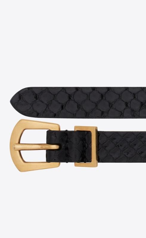 유럽직배송 입생로랑 SAINT LAURENT rock n' roll buckle belt in lacquered python 669908EML0W1000