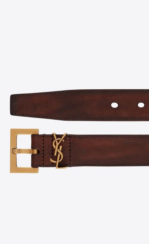 유럽직배송 입생로랑 SAINT LAURENT monogram belt with square buckle in aged raw leather 6344370H7YW2350