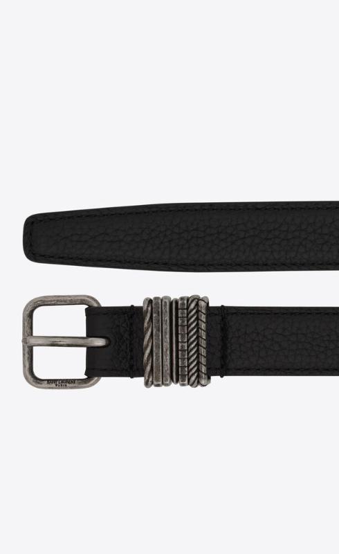 유럽직배송 입생로랑 SAINT LAURENT stacked-loop belt in grained leather 649240DTI0D1000