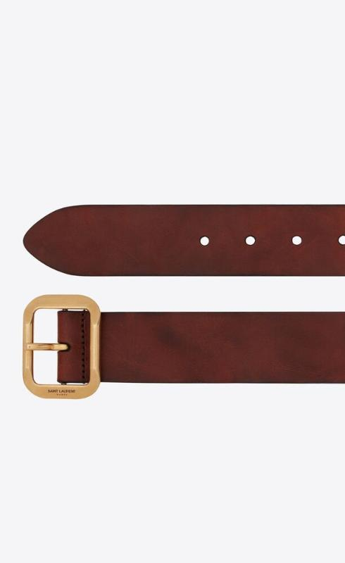 유럽직배송 입생로랑 SAINT LAURENT joe buckle belt in raw aged leather 6694870H7YW2350