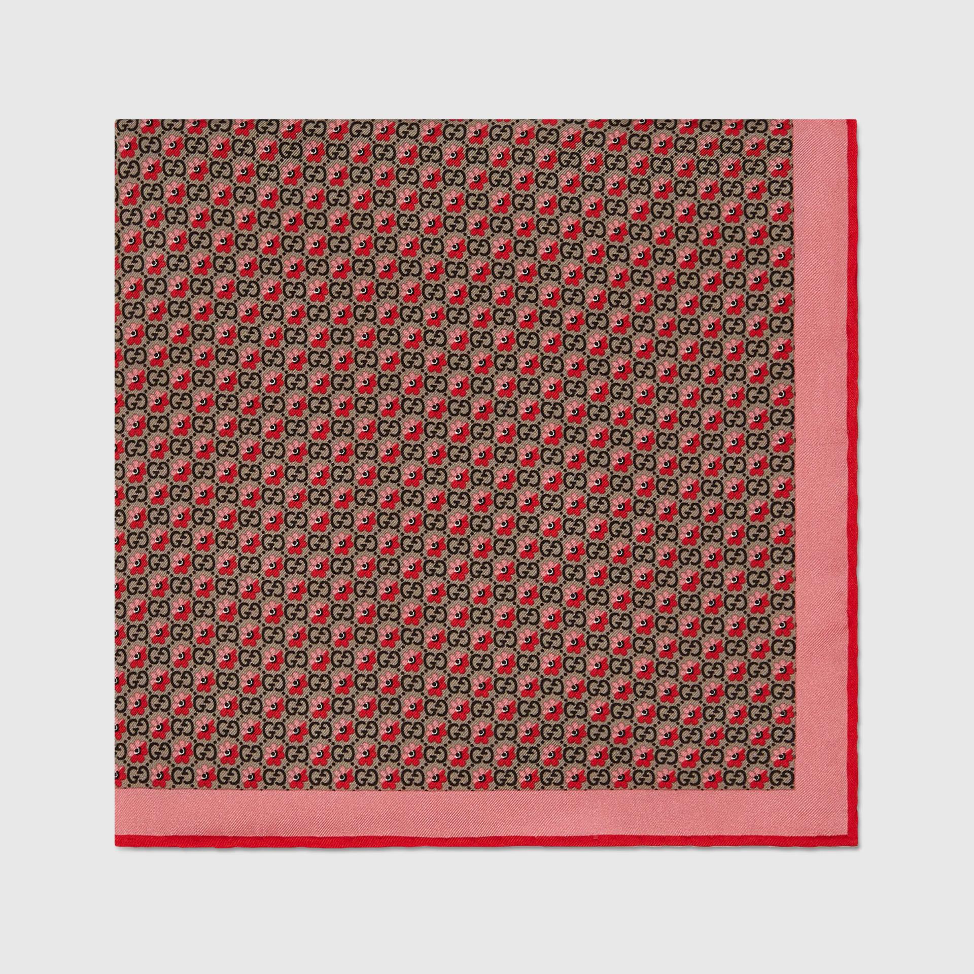 유럽직배송 구찌 GUCCI Gucci GG and floral print silk pocket square 6768404G0019974