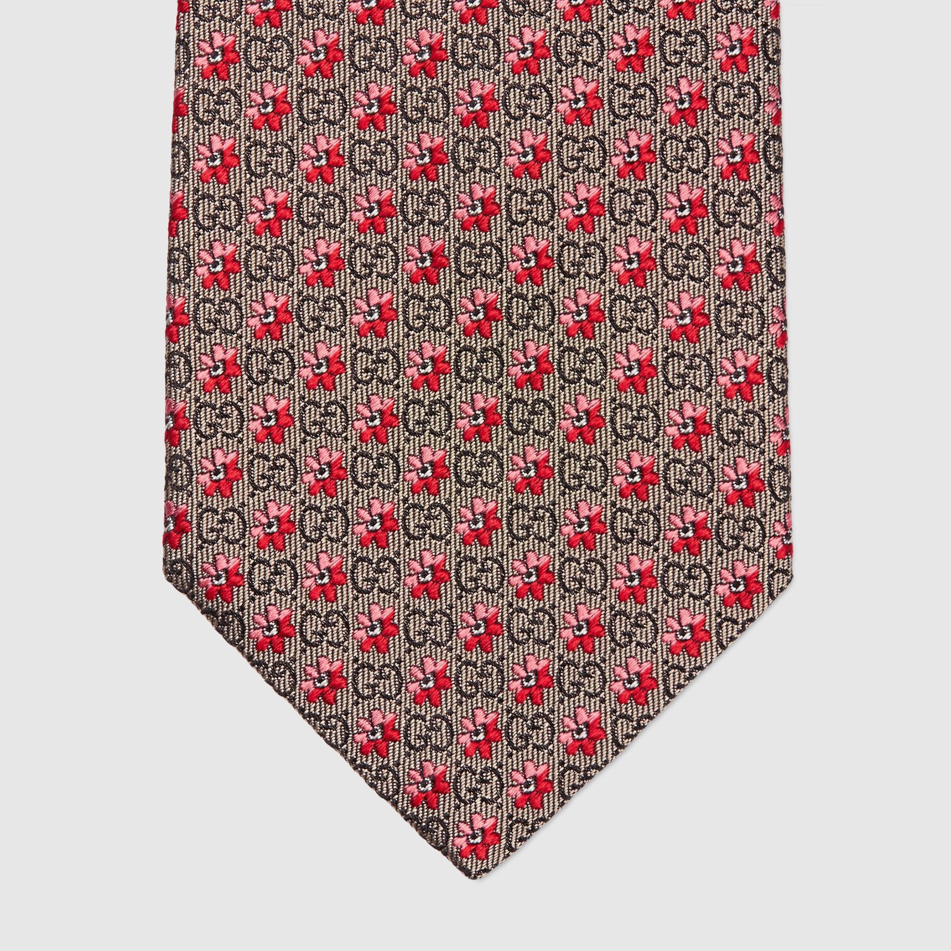 유럽직배송 구찌 GUCCI Gucci Flowers and GG silk jacquard tie 6725654E0029974