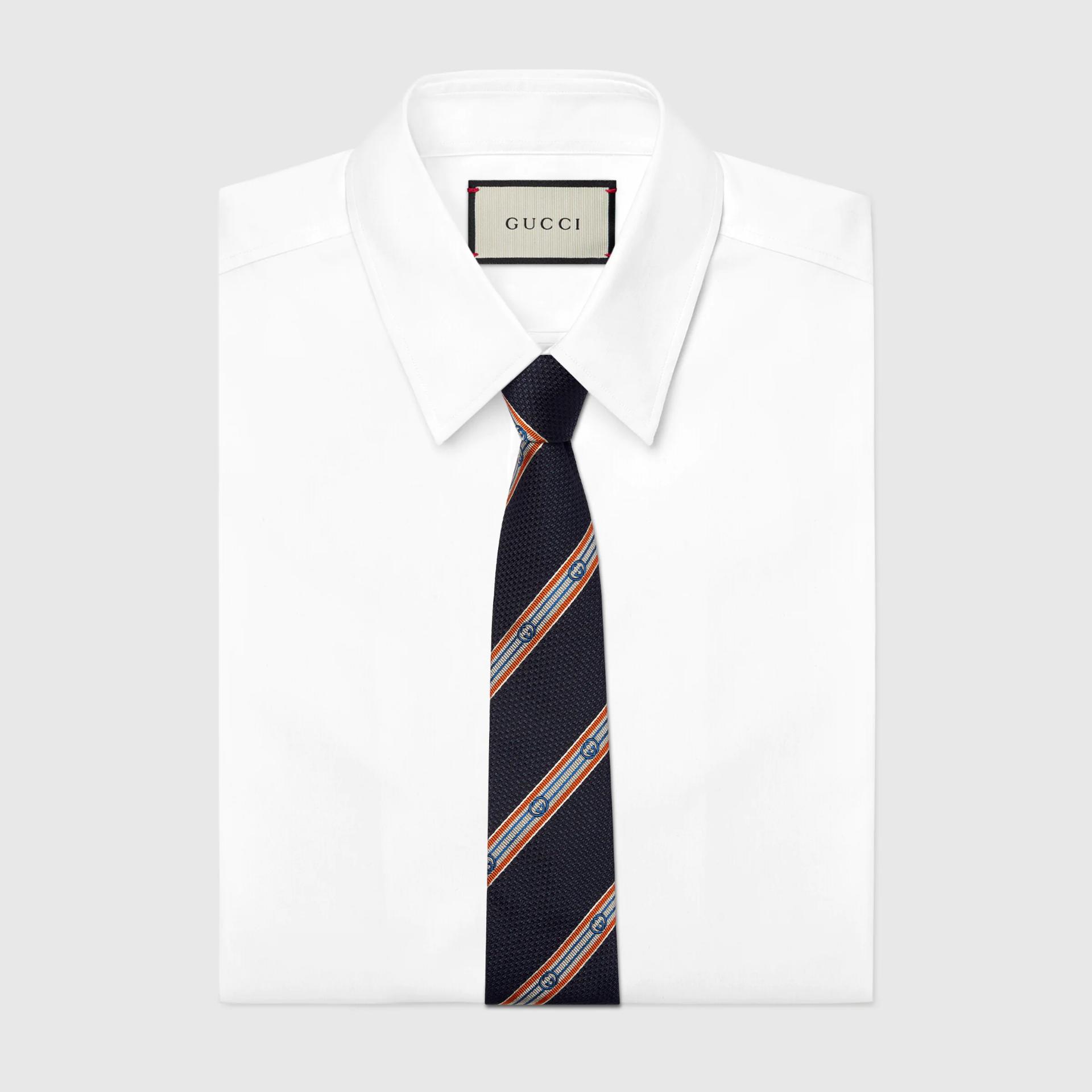 유럽직배송 구찌 GUCCI Gucci Interlocking G stripe silk jacquard tie 6699244E0094076