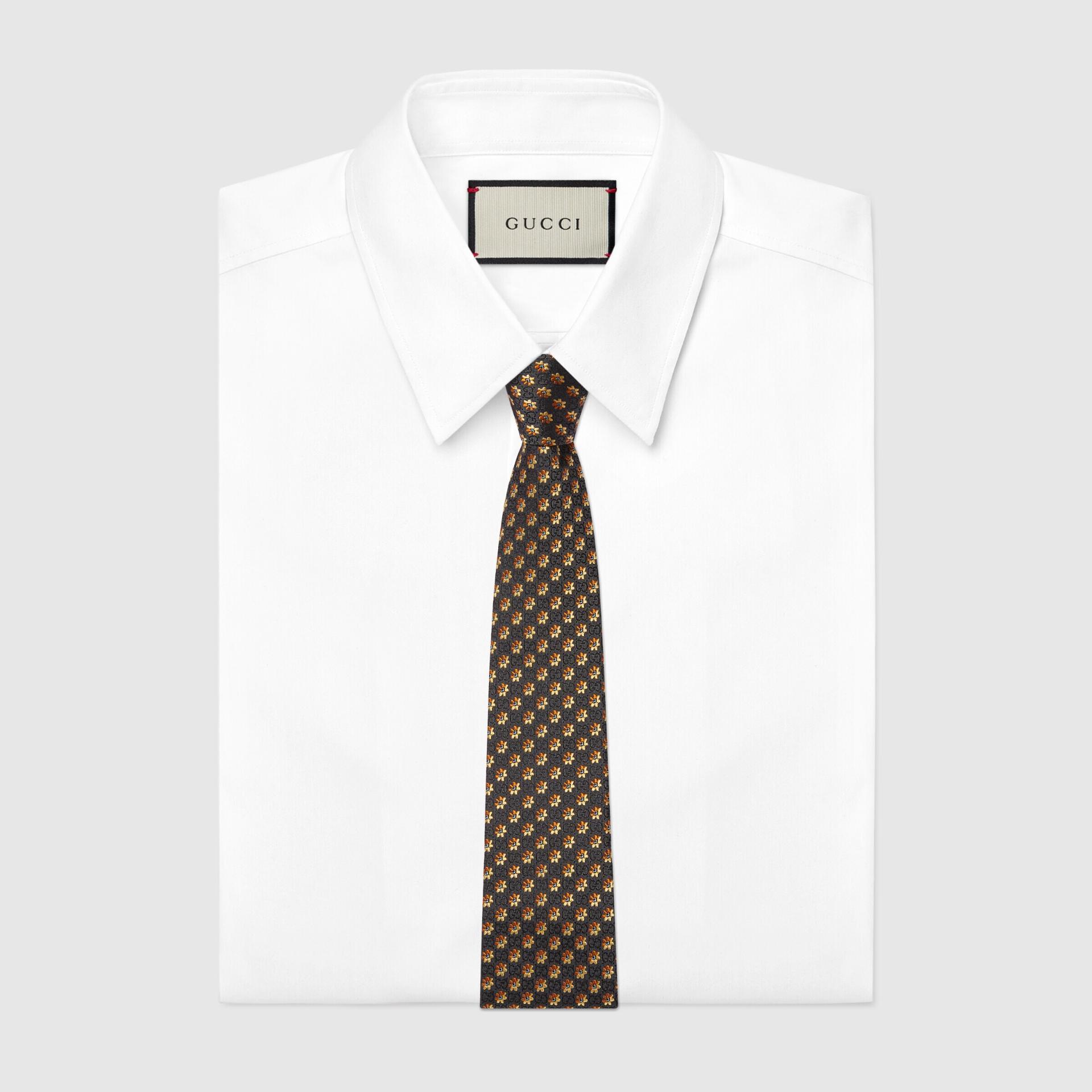 유럽직배송 구찌 GUCCI Gucci Flowers and GG silk jacquard tie 6725654E0021276